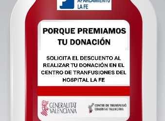 WITH YOUR DONATION APPLY FOR THE DISCOUNT AT THE LA FE HOSPITAL TRANSFUSION CENTER