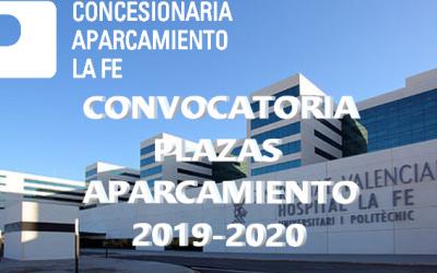 CONVOCATORIA PLAZAS DE APARCAMIENTO 2019-2020