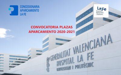 CONVOCATORIA PLAZAS DE APARCAMIENTO 2020-2021
